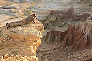 Man with hat taking pictures,Devils Kitchen Badlands near Greybull,Wyoming,USA, USA<br /> MR 0038