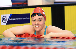 Freya Rayner celebrates winning the Women's Target Tokyo 50m Freestyle Final during day three of the 2017 British Swimming Championships at Ponds Forge, Sheffield.