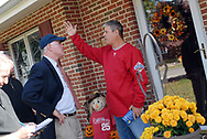 10/16/10 9:29:33 AM -- Springfield, PA<br />  -- Republican Congressional candidate Pat Meehan (L) speaks with voter Mark Correnti (R) October 16, 2010 in Springfield, Pennsylvania. Meehan faces incumbent Democrat Bryan Lentz in the Nov. 2 general election. --  Photo by William Thomas Cain/Cain Images