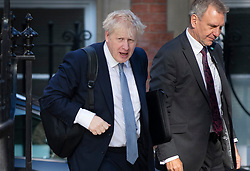 © Licensed to London News Pictures. 23/07/2019. London, UK. Conservative Party Leadership contender Boris Johnson arrives in Westminster. The result of the Conservative party leadership contest will be announced today. Photo credit: Peter Macdiarmid/LNP