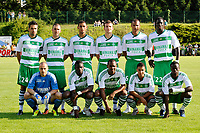 FOOTBALL - FRIENDLY GAMES 2011/2012 - AS SAINT ETIENNE v FC ISTRES  - 8/07/2011 - PHOTO GUY JEFFROY / DPPI - ASSE TEAM : BACK ROW LEFT TO RIGHT : LOIC PERRIN / LAURENT BATLLES / FAOUZI GHOULAM / PIERRICK CROS / SYLVAIN MONSOREAU / MOUSTAPHA BAYAL . FRONT ROW : JEREMIE JANOT / BAKARY SAKO / FLORENT SINAMA PONGOLE / JESSIM MAHAYA / ISMAEL DIOMANDE .
