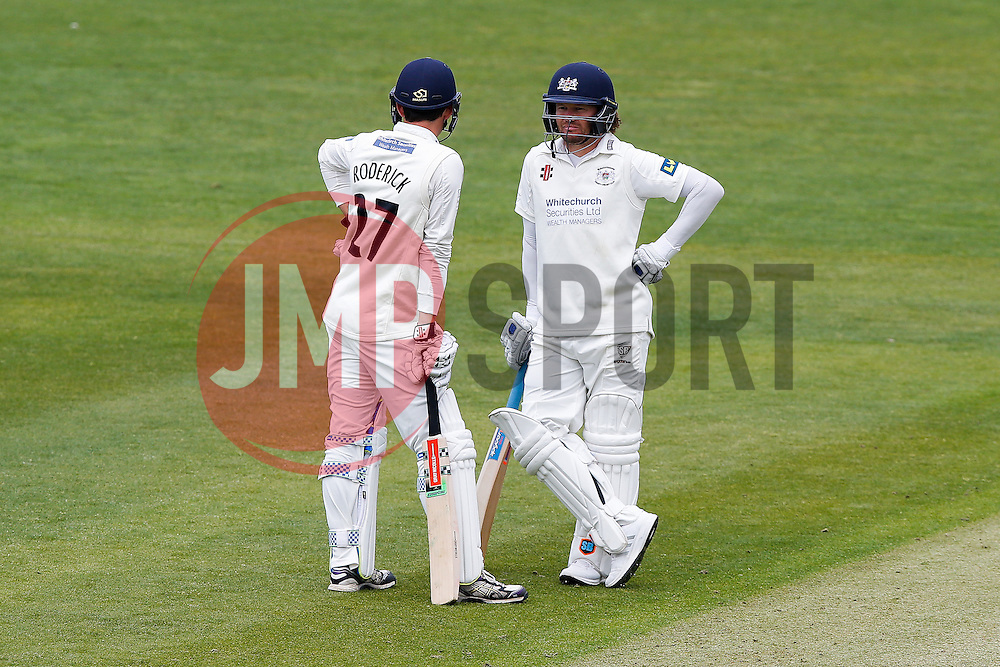 Gareth Roderick and Hamish Marshall of Gloucestershire - Photo mandatory by-line: Rogan Thomson/JMP - 07966 386802 - 26/04/2015 - SPORT - CRICKET - Bristol, England - Bristol County Ground - Gloucestershire v Derbyshire — Day 1 - LV= County Championship Division Two.