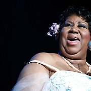 Aretha Franklin performing during her concert at Radio City Music Hall on March 21, 2008 in New York City.