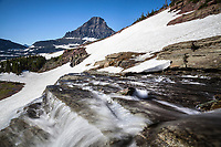 MT00135-00...MONTANA - Renolds Mountain and waterfall at Logan Pass in Glacier National Park,