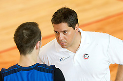 Aleksandar Capin and head coach Saso Filipovski at first practice session of KK Union Olimpija before new season 2011/2012, on August 8, 2011, in Arena Kodeljevo, Ljubljana, Slovenia. (Photo by Vid Ponikvar / Sportida)
