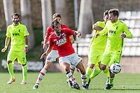 MARBELLA - 07-01-2017, Trainingskamp, AZ - FC Augsburg, AZ speler Joris van Overeem, FC Augsburg speler Daniel Baier.
