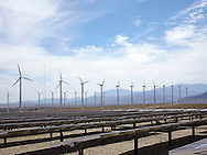 windmills in desert in Palm Springs, California
