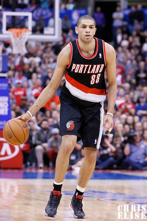 12 February 2014: Portland Trail Blazers small forward Nicolas Batum (88) dribbles during the Los Angeles Clippers 122-117 victory over the Portland Trail Blazers at the Staples Center, Los Angeles, California, USA.