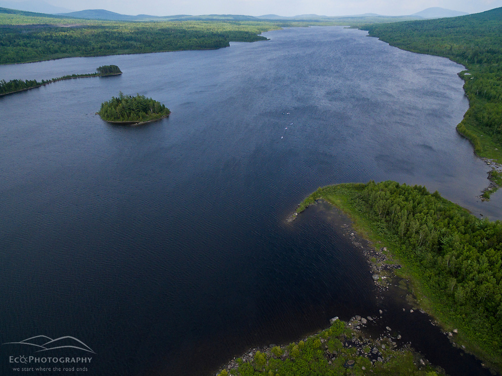 An aerial view of Second Roach Pond near the Appalachian Mountain Club's Medawisla Lodge in the Maine Woods near Greenville.