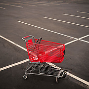 A lost shopping cart sits in a shuttered store at the Independence Plaza shopping center in Trenton, New Jersey on April 12, 2017. John Taggart for The New York Times.