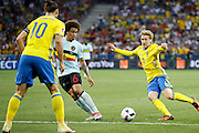 Sweden MF Emil Forsberg (6) passes the ball to Sweden FW Zlatan Ibrahimović (C) (10) during the Euro 2016 match between Sweden and Belgium at Stade de Nice, Nice, France on 22 June 2016. Photo by Andy Walter.