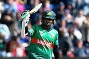 100 - Shakib Al Hasan (vc) of Bangladesh celebrates scoring a century during the ICC Cricket World Cup 2019 match between England and Bangladesh the Cardiff Wales Stadium at Sophia Gardens, Cardiff, Wales on 8 June 2019.