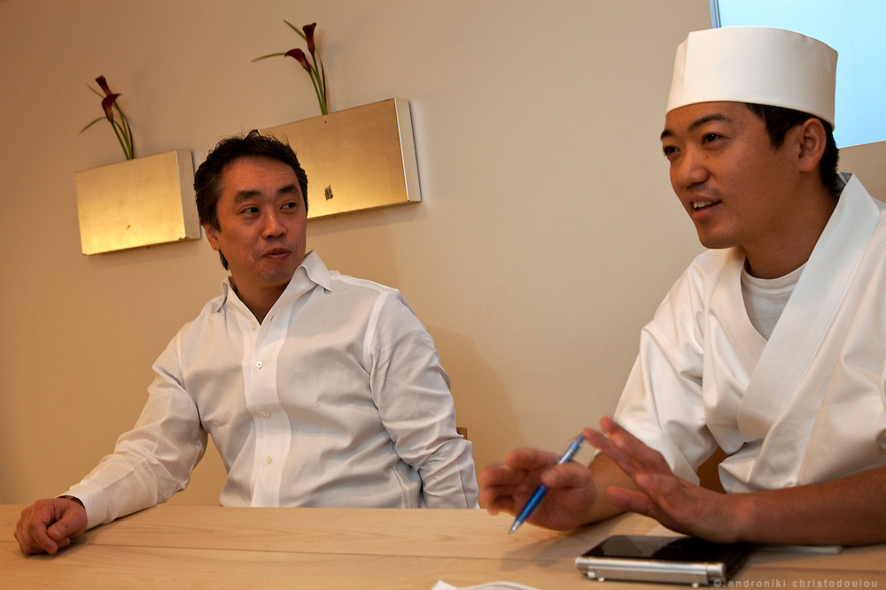 Hiroyuki Kanda (L) and Koji Nakamura (R) during their interview at the Kanda restaurant in Tokyo. Nakamura will be teaching at the Sushi Academy that Kanda is going to open in London.