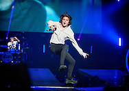 Bradley Simpson of The Vamps performs on stage at The SEE Hydro on April 8, 2016 in Glasgow,Scotland.