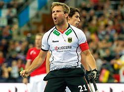 LEIZPIG - WC HOCKEY INDOOR 2015<br /> AUT v GER (Pool A)<br /> Foto: F&Uuml;RSTE Moritz (C) celebrates his goal.<br /> FFU PRESS AGENCY COPYRIGHT FRANK UIJLENBROEK