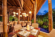 The Sakti Dining Room at Fivelements Puri Ahimsa. The 400 square meter, 80-seat restaurant runs on just 160 watts of LED lighting. The menu features all-vegan cuisine, including a creative array of raw food offerings, all sourced from local organic suppliers.