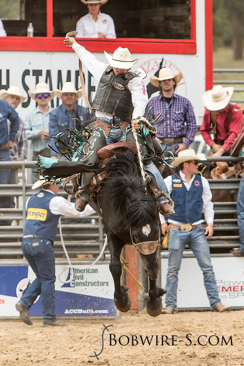 Saddle brond rider Roper Kiesner rides Summit Pro Rodeo's Dawson Creek during the third performance of the Elizabeth Stampede on Sunday, June 3, 2018.