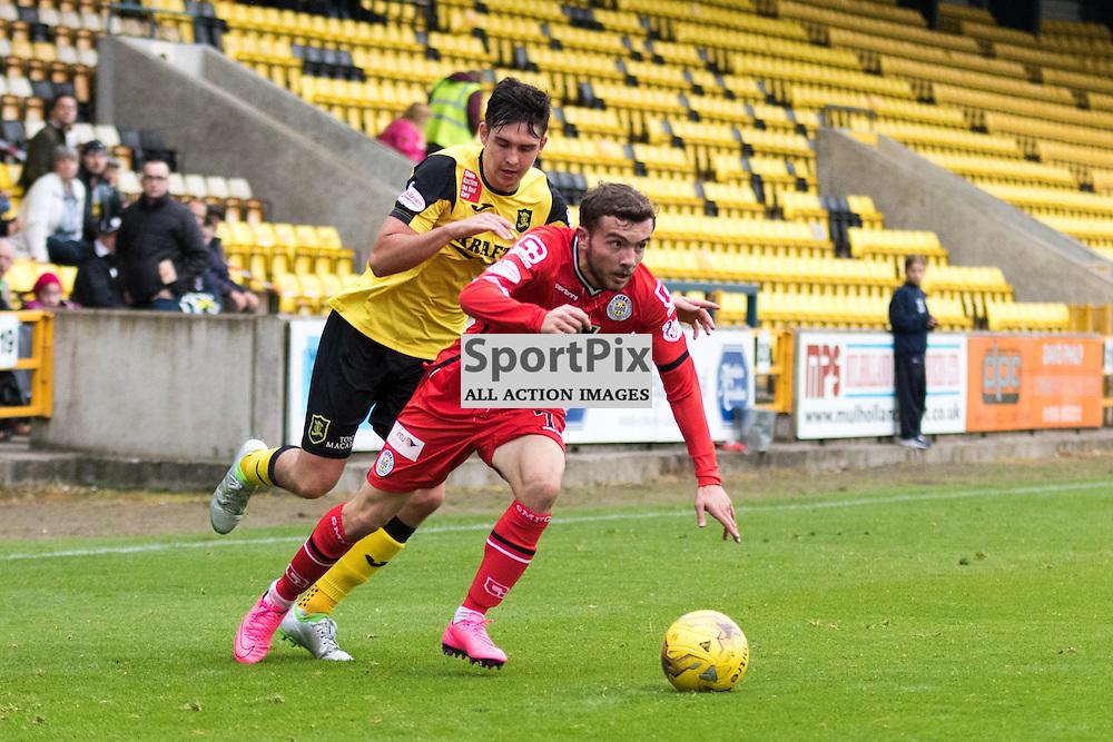 St. Mirren's Paul McMullan gets away from Livingston's Jackson Longridge in the Livingston vs St. Mirren Scottish Championship 17th October 2015......(c) MARK INGRAM   SportPix.org.uk