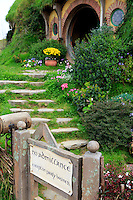 Hobbiton, near Matamata on the north island of New Zealand, is the home of the movie set used in the movie series Lord of the Rings and The Hobbit. This particular house is known as Bag End and is the home of the movie's protagonist - Bilbo Baggins.