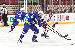 Rok Ticar of Slovenia during Ice Hockey match between National Teams of Slovenia and Poland in Round #2 of 2018 IIHF Ice Hockey World Championship Division I Group A, on April 23, 2018 in Budapest, Hungary. Photo by David Balogh / Sportida