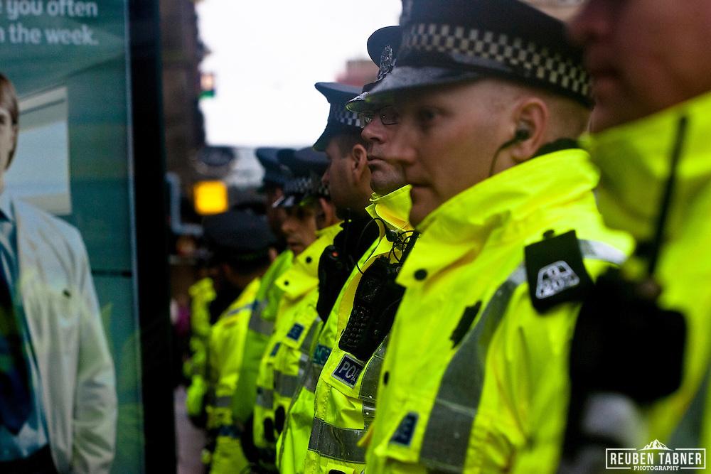 Police lines, Glasgow.