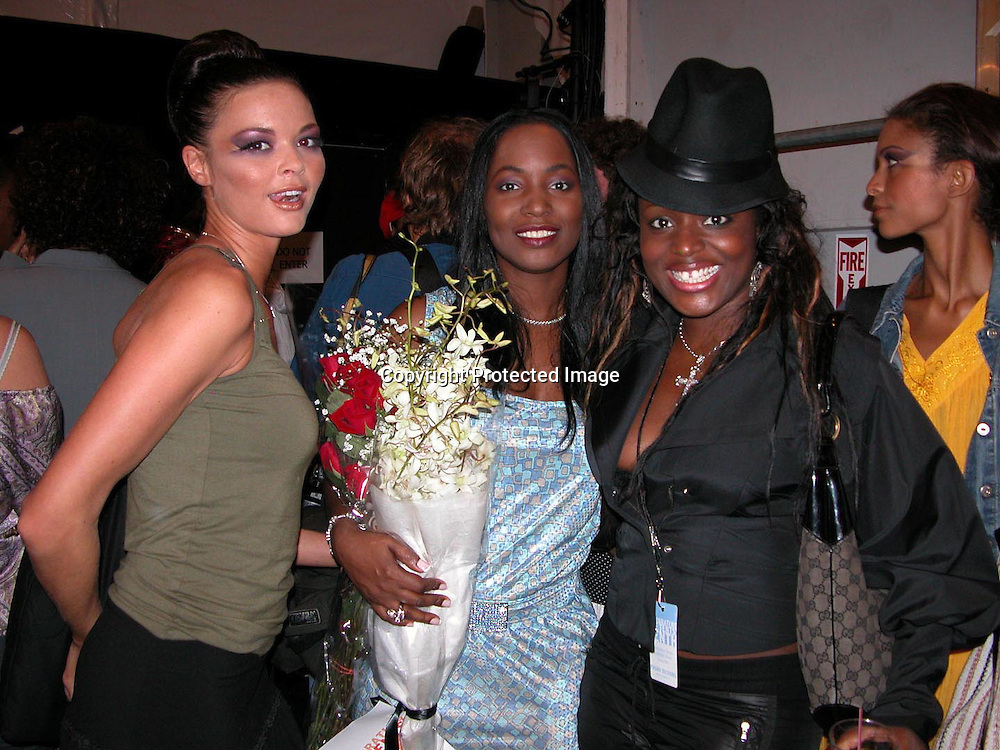 Marie Claudinette Pierre-Jean &amp; Wyclef Jean's sister<br />Fusha Fashion Show Front Row &amp; backstage<br />The Bryant Tent, Bryant Park<br />New York City, NY, USA<br />Saturday, September, 13, 2003 <br />Photo By Celebrityvibe.com/Photovibe.com