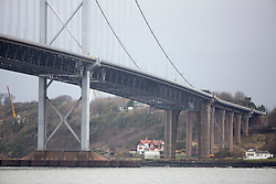 Pics of the closed Forth Road bridge.  Looking towards the North tower.