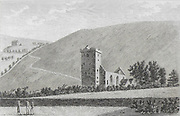 Engraving of Scottish landscapes and buildings from late eighteenth century, Cross Church, Peebles, Scotland 1790 , drawn by S Hooper