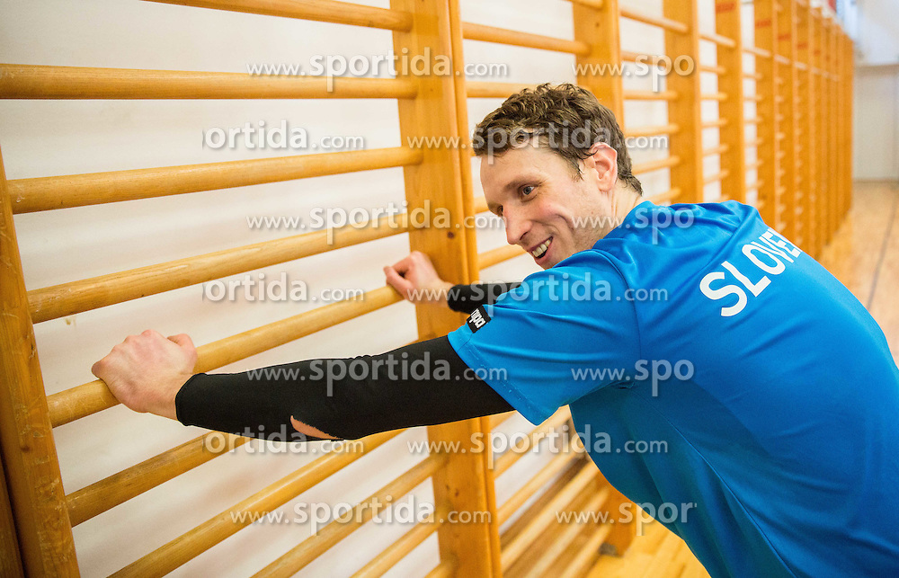 David Miklavcic during practice session of Slovenian National Handball Men team at training camp before EHF European Championship Poland 2016, on December 23, 2015 in Slovenske Konjice, Slovenia. Photo by Vid Ponikvar / Sportida