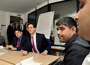 © Licensed to London News Pictures. 16/04/2012. London, UK .STEPHEN TWIGG AND ED MILIBAND talk to students on the course. Ed Miliband MP, Leader of the Labour Party UK, visits The Skills Place in Westfield Stratford today, 16th April 2012, on a visit to highlight youth unemployment issues. Photo credit : Stephen Simpson/LNP