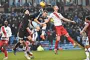 Burnley Forward, Sam Vokes is caught in a goalmouth save by Charlton Athletic Goalkeeper, Stephen Henderson during the Sky Bet Championship match between Burnley and Charlton Athletic at Turf Moor, Burnley, England on 19 December 2015. Photo by Mark Pollitt.