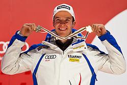 12-02-2011 SKIEN: FIS ALPINE WORLD CHAMPIONSSHIP: GARMISCH PARTENKIRCHEN<br /> bronze Medal Christof Innerhofer (ITA) during Medal Ceremony<br /> **NETHERLANDS ONLY**<br /> ©2011-WWW.FOTOHOOGENDOORN.NL/EXPA/ J. Groder
