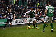 Kallum Higginbottom moves in on Andrew Shinnie during the Ladbrokes Scottish Championship match between Hibernian and Dunfermline Athletic at Easter Road, Edinburgh, Scotland on 25 February 2017. Photo by Kevin Murray.