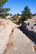 Conestoga Wagon ruts along the Oregon Trail near Guernsey, Oregon Trail National Historic Landmark, Wyoming