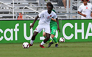 Canada forward Jean-aniel Assi (11) dribbles away from Slovenia forward Denis Leban (16) during a CONCACAF boys under-15 championship soccer game, Saturday, August 10, 2019, in Bradenton, Fla. Slovenia defeated Canada in 2-1 in overtime and advanced to the finals against Portugal. (Kim Hukari/Image of Sport)