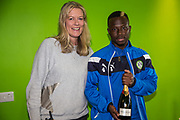 CEO Helen Taylor presents Forest Green Rovers Drissa Traoré(4) with his MOM award during the EFL Sky Bet League 2 match between Forest Green Rovers and Exeter City at the New Lawn, Forest Green, United Kingdom on 9 September 2017. Photo by Shane Healey.