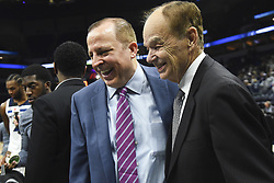 November 14, 2018 - Minneapolis, MN, USA - Minnesota Timberwolves head coach Tom Thibodeau and team owner Glen Taylor, right, were all smiles following a 107-100 win against the New Orleans Pelicans on Wednesday, Nov. 14, 2018, at Target Center in Minneapolis. (Credit Image: © Aaron Lavinsky/Minneapolis Star Tribune/TNS via ZUMA Wire)