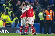 GOAL 2-2 Arsenal defender Héctor Bellerín (2) scores and celebrates during the Premier League match between Chelsea and Arsenal at Stamford Bridge, London, England on 21 January 2020.