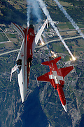 Swiss jet team Patrouille Suisse in F-5Es popping anti-missile flares