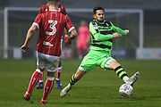 Forest Green Rovers Chris Clements(22) stretches to collect the ball during the Gloucestershire Senior Cup match between Forest Green Rovers and U23 Bristol City at the New Lawn, Forest Green, United Kingdom on 9 April 2018. Picture by Shane Healey.