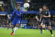 Chelsea Midfielder Callum Hudson-Odoi battles with Sheffield Wednesday midfielder George Boyd (21)  during the The FA Cup fourth round match between Chelsea and Sheffield Wednesday at Stamford Bridge, London, England on 27 January 2019.
