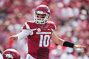 FAYETTEVILLE, AR - SEPTEMBER 5:  Brandon Allen #10 of the Arkansas Razorbacks signals to his offensive line during a game against the UTEP Miners at Razorback Stadium on September 5, 2015 in Fayetteville, Arkansas.  The Razorbacks defeated the Miners 48-13.  (Photo by Wesley Hitt/Getty Images) *** Local Caption *** Brandon Allen