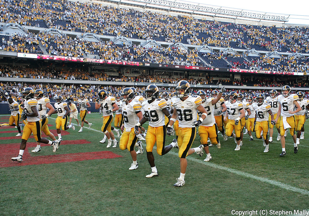 01 SEPTEMBER 2007: Iowa runs off the field after their 16-3 win over Northern Illinois at Soldiers Field in Chicago, Illinois on September 1, 2007.