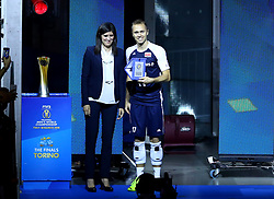 September 30, 2018 - Turin, Italy - Poland v Brazil - FIVP Men's World Championship Final.Pawel Zatorski of Poland receives y the Major of Turin Chiara Appendino the award as best libero of the championship at Pala Alpitour in Turin, Italy on September 30, 2018. (Credit Image: © Matteo Ciambelli/NurPhoto/ZUMA Press)