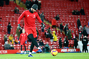 Liverpool goalkeeper Alisson Becker (13) warming up during the Premier League match between Liverpool and Leicester City at Anfield, Liverpool, England on 30 January 2019.