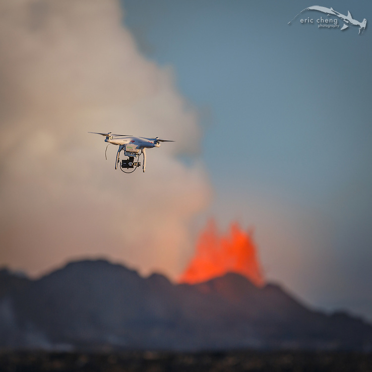 PHOTO BY RAGNAR SIGURDSSON. A DJI Phantom 2 with Zenmuse H3-3D gimbal, GoPro HERO 3+ Black, and Lightbridge wireless HD transmission system flies near the Holuhraun volcano eruption, Bardarbunga volcanic system, Iceland.