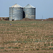Silos at a fallow UAE-owned farm which grows corn and sorghum. The UAE has recently leased  thirty hectares of farm land in Northern Sudan to ensure the country's food security.