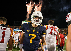 Nov 4, 2017; Morgantown, WV, USA; West Virginia Mountaineers quarterback Will Grier (7) celebrates after beating the Iowa State Cyclones at Milan Puskar Stadium. Mandatory Credit: Ben Queen-USA TODAY Sports