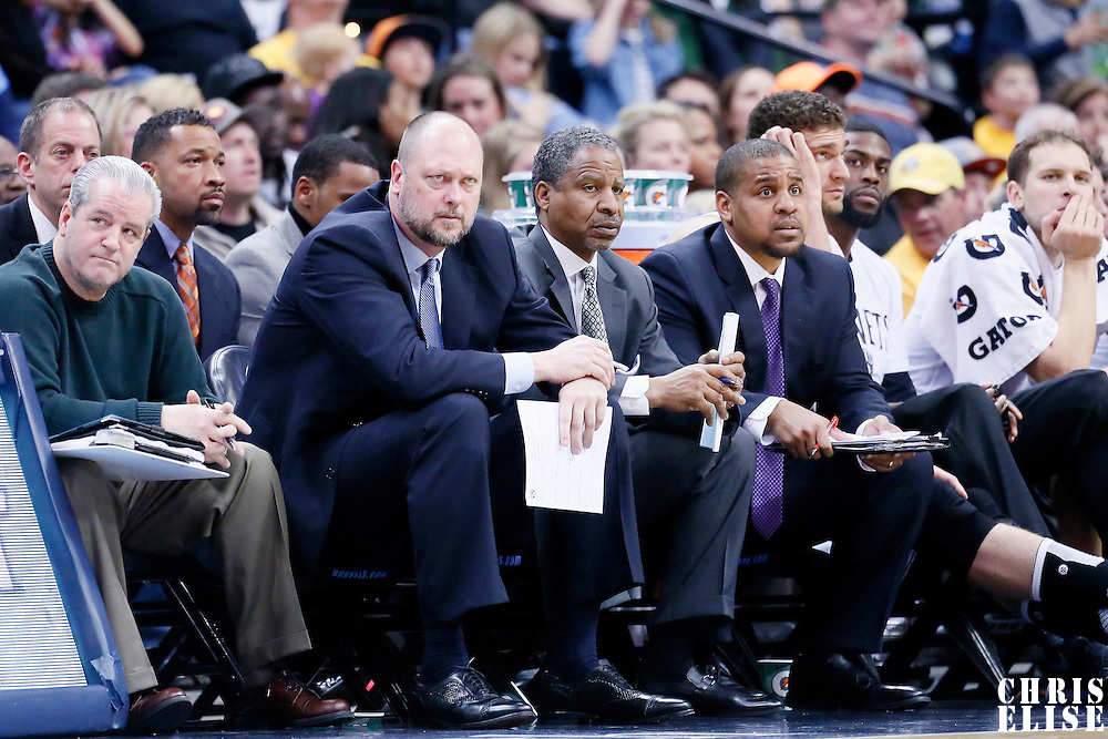 04 March 2016: Brooklyn Nets assistant coach Joe Wolf, Jay Humphries, Steve Jones are seen on the bench  during the Brooklyn Nets 121-120 victory over the Denver Nuggets, at the Pepsi Center, Denver, Colorado, USA.
