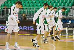 Players of Union Olimpija  at Euroleague basketball match in 6th Round of Group C between KK Union Olimpija and Maccabi Tel Aviv, on December 3, 2009, in Arena Tivoli, Ljubljana, Slovenia. (Photo by Vid Ponikvar / Sportida)